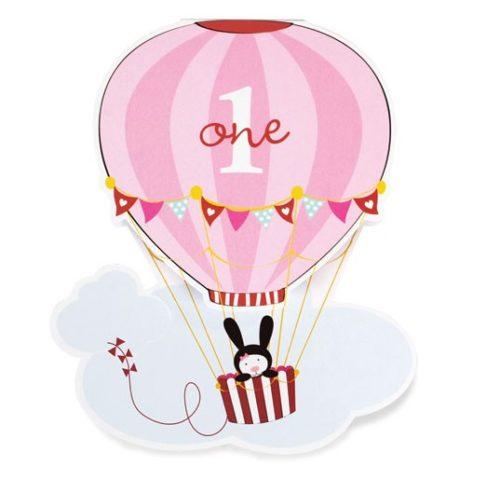 Pink Hot Air Balloon 1st Birthday Invitations