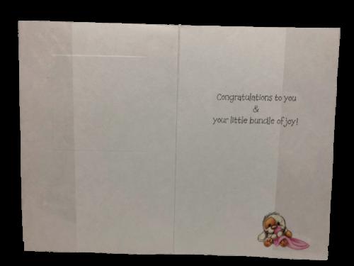 Baby girl greeting card inside