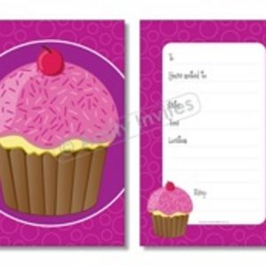 Pink Cupcake Baking Party Invitations