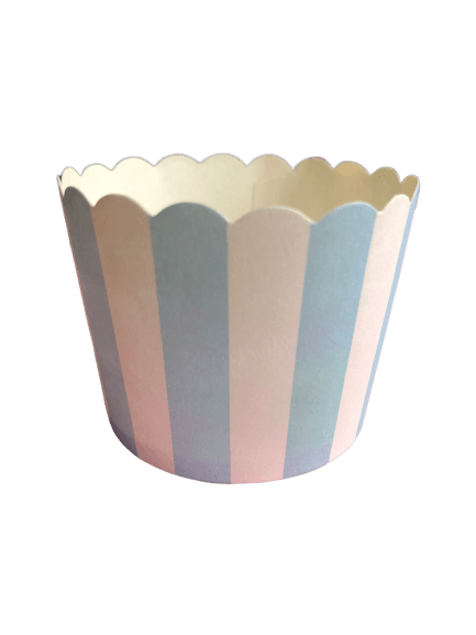 Pale blue and white striped baking cups