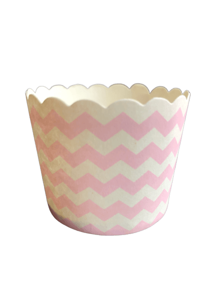 baby pink chevron baking cups
