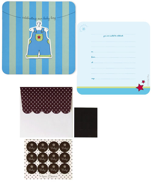 Blue Overalls Baby Shower Invitations