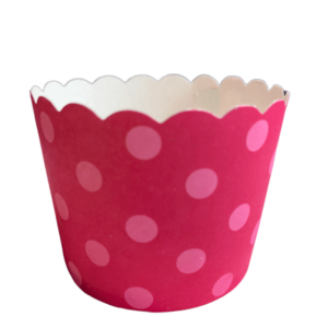 Berry pink polka dot spotted baking cups