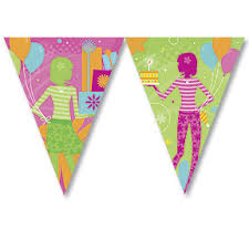 Retro Birthday Party Flag Banner