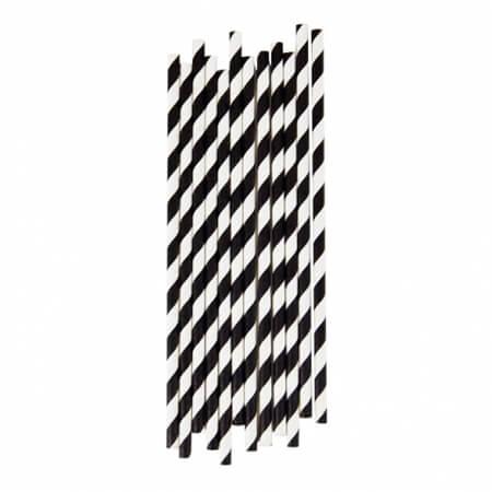 black and white striped paper straws