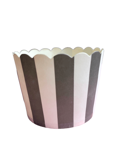Black and white striped paper baking cups