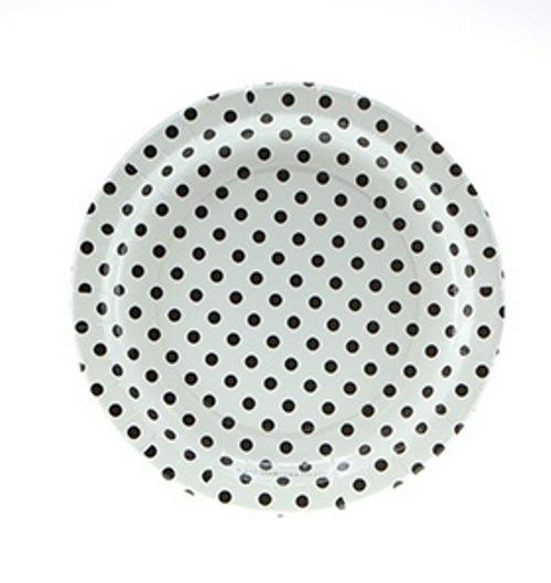 Black polka dot paper plates Sambellina