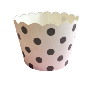 black and white spotted baking cups