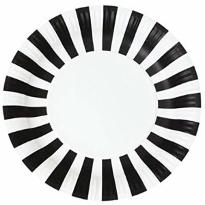 black white striped paper plates