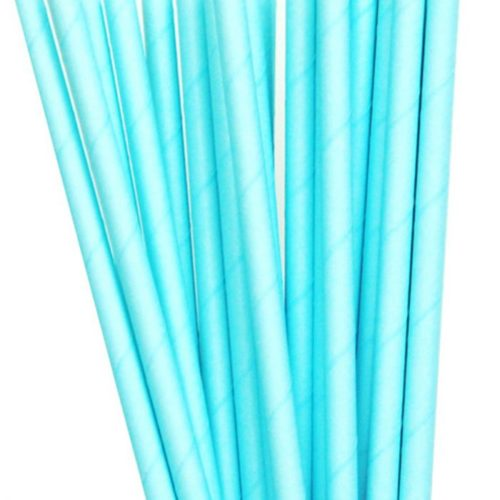 solid blue paper straws