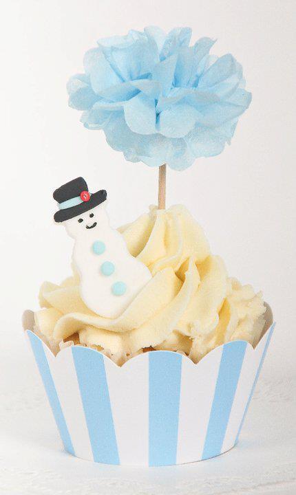 Blue Striped Cupcake Wrapper