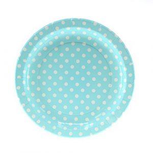 Blue Polka dot paper plates