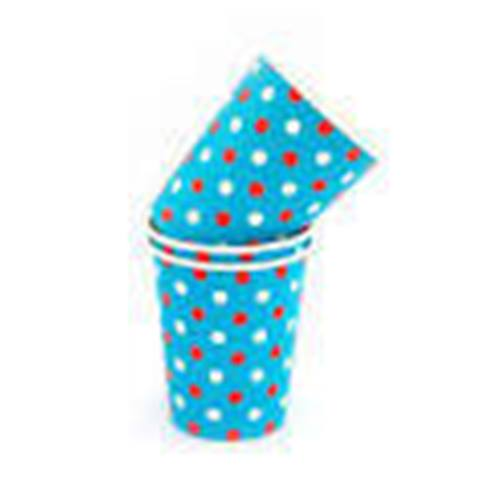 Blue multi polka dot paper cups