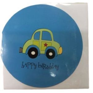 Baby Shower Blue Car Birthday Greeting Card