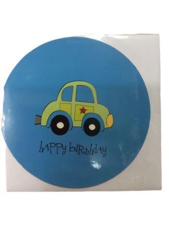 Baby Shower Blue Car Birthday Greeting Card