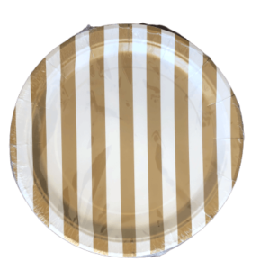 bronze striped round paper plates