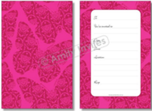 Pink Damask Butterfly Party Invitations