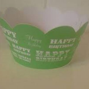 Green 'Happy Birthday' Cupcake Wrappers