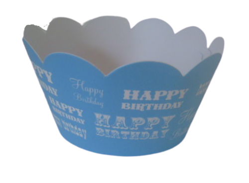 Blue happy birthday cupcake wrappers