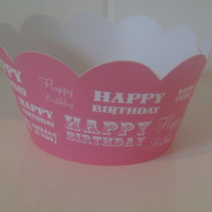 Pink Happy Birthday Cupcake Wrappers