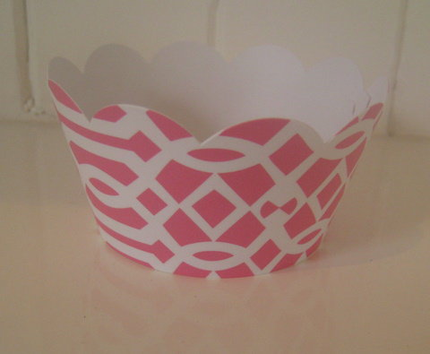 Pink Trellis Garden party Cupcake Wrappers