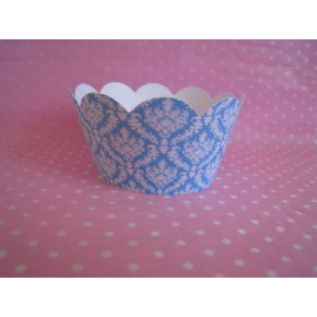 Blue and white damask cupcake wrappers