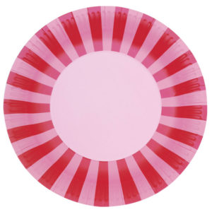 Pink striped paper plates