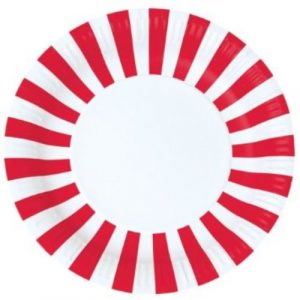 Candy cane striped red paper plates