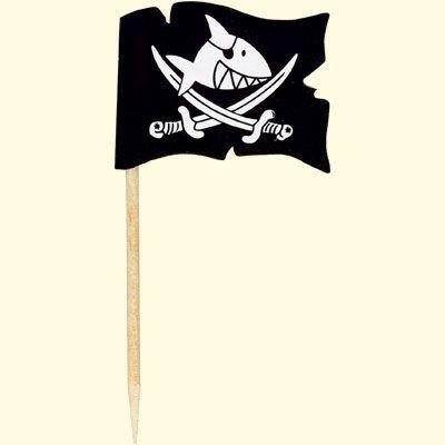 Pirate Captain Sharky Shark toothpick cupcake toppers