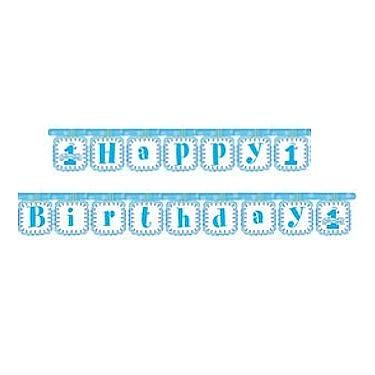 1st Birthday Blue Little Champ Happy Birthday Banner
