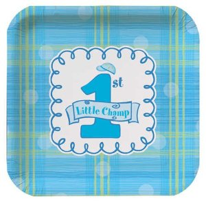 Boys 1st Birthday Little Champ Blue Square Dessert Plates