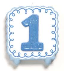 1st Birthday Blue Boys Candle