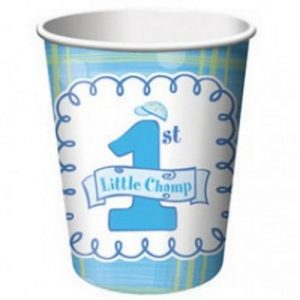 Little Champ boys first birthday paper cups