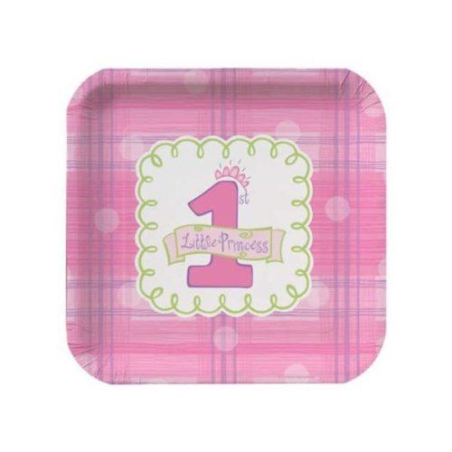 1st Birthday Pink Little Princess Dessert Plates