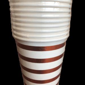 copper striped paper cups