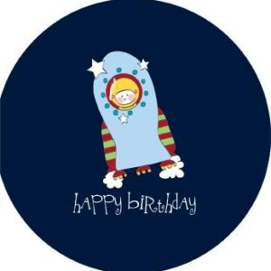Space Rocket Astronaut Birthday Greeting Card