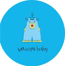Baby Shower Blue Overalls Boy Greeting Card