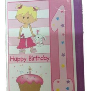 1st Happy Birthday Pink Girl Greeting Card