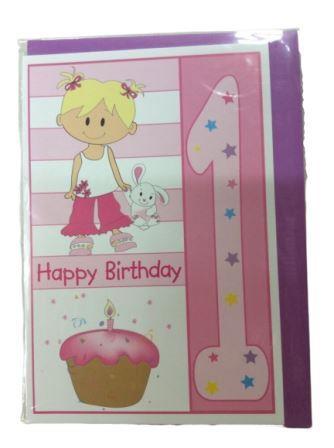 1st Happy Birthday Pink Girl Greeting Card