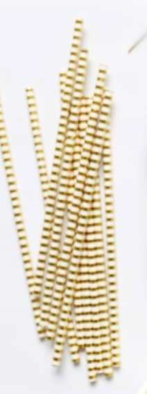 Gold Parallel striped paper straw