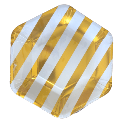 Gold striped hex plates