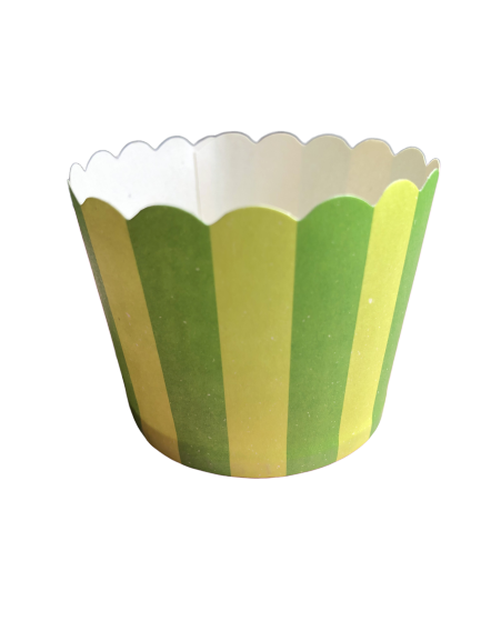 Green on Green Stripes Baking Cups