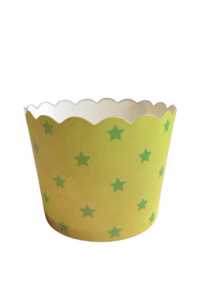 green stars paper baking cups