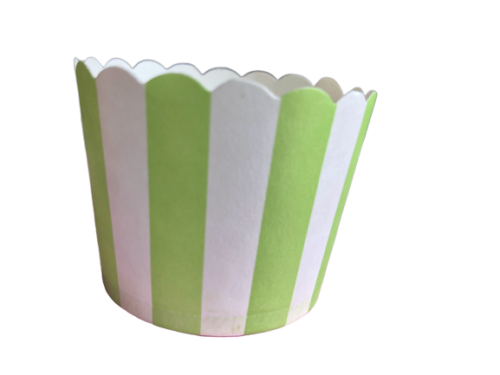 Green Apple and White Stripe Baking Cups