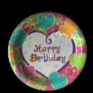 Happy Birthday Heart Shimmer Dinner Plate
