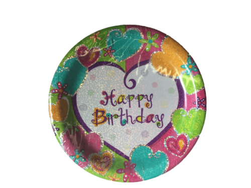 Happy Birthday Heart Shimmer Dinner Plate