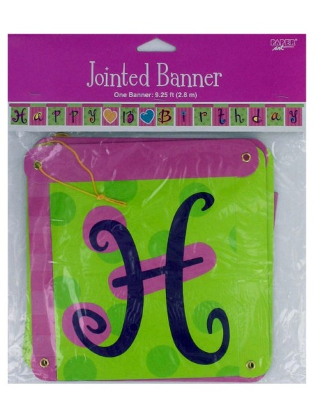 Heart Whimsy Happy Birthday Jointed Banner