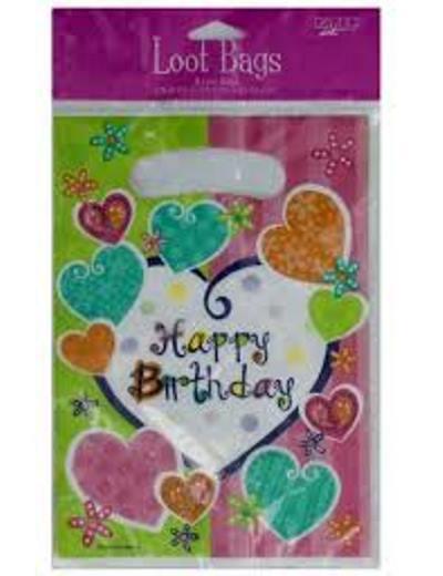 Whimsical heart happy birthday loot bags