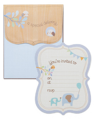 Hipp Special Delivery Baby Shower Invitations Blue Elephant