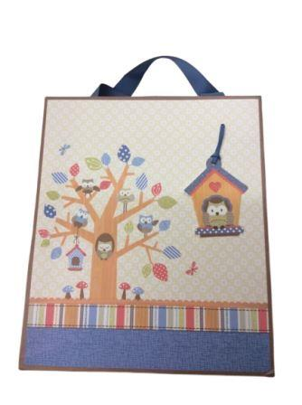 Baby Shower Little People Owl Gift Bag - Medium